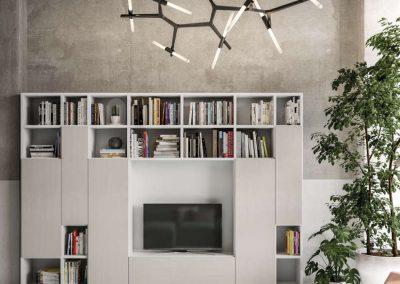 Composizione soggiorno con libreria
