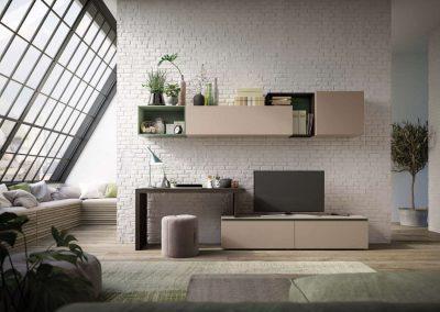 Composizione soggiorno che ingloba la scrivania allo spazio porta tv, creando un soggiorno dalle forme nuove