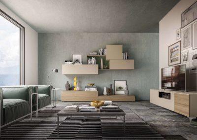 Composizione soggiorno accompagnata dalla madia porta tv contenitiva nelle stesse finiture