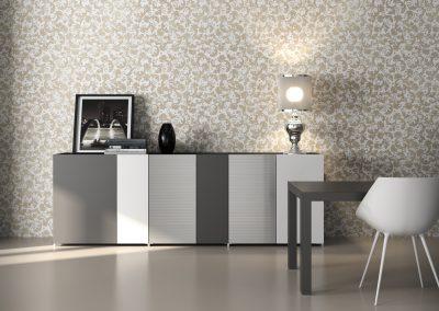 Madia di design dalle linee semplici ed essenziali, ispirate al razionalismo, espressione di un elegante sistema di apertura privo di maniglie.